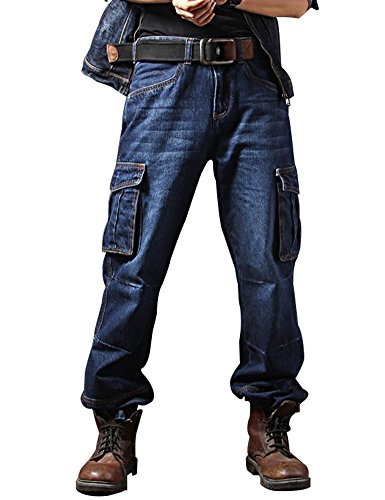 Idopy Ropa de Trabajo de Motocicleta Casual Multi Bolsillos Jeans Denim Biker Cargo Azul 30