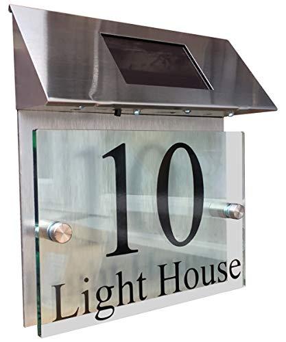 MODERN HOUSE SIGN PLAQUE DOOR NUMBER STREET GLASS ACRYLIC ALUMINIUM EFFECT SOLAR LIGHT