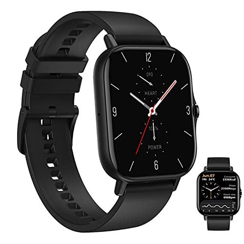 APCHY Smart Watch Reloj Inteligente,1.78 '' Fitness Fitness Tracker con Monitoreo Fisiológico Femenino Entrenamiento De Respiración Música Remota Modo Multi-Deporte Modo Bluetooth,Negro