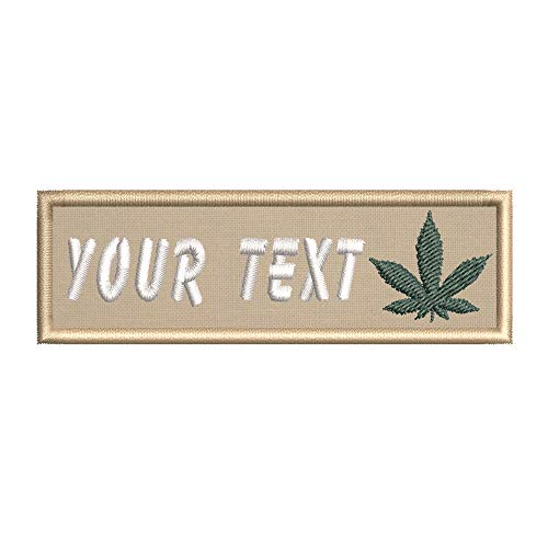 Custom Cannabis Pot Leaf Your Text Embroidered Premium Patch DIY Iron-on or Sew-on Decorative Badge Emblem Vacation Souvenir Travel Gear Clothes Appliques
