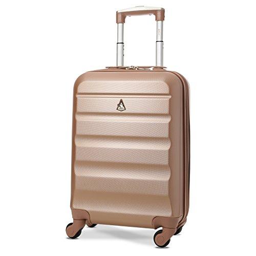 Aerolite - Valigia leggera da 55 cm, rigida con 4 ruote, da viaggio, per bagaglio a mano, omologata per easyJet British Airways Ryanair, colore oro rosa