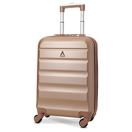 Aerolite Lightweight 55cm Hard Shell 4 Wheel Travel Carry On Hand Cabin Luggage Suitcase, Approved for easyJet British Airways Ryanair, Rose Gold