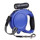 Laxus Laisse de Chien Rétractable, Laisse pour Chien Enrouleur, Ruban Solide en Nylon 8 M pour Toutes Les Tailles de Chien Jusqu'à 50kg Laisse Réglable,avec Lampe de Poche (Bleu-1)