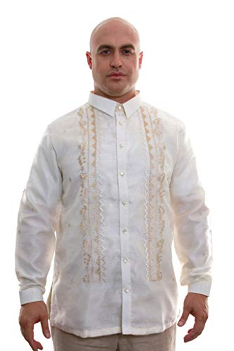 Organza Pina Barong Tagalog with Lining 003 - Full-Open Buttons - Traditional Filipino Clothing… (XXX-Large)
