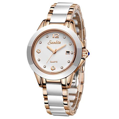 LIGE Damen Armbanduhr Frauen Mode Elegant Wasserdicht Analoger Quarz Uhr Weiblich Rosegold Weiß Keramik Business Uhren Weiß Zifferblatt Einfach Luxus Casual Kleid Kalendar Damenuhr