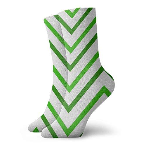 Lsjuee Calcetines con estampado de rayas verdes Novedad Equipo informal delgado Deporte Lindo Confort Trabajo 11.8 '