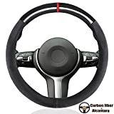 YANDA Car Carbon Fiber Suede Steering Wheel Cover Auto Anti-Slip...