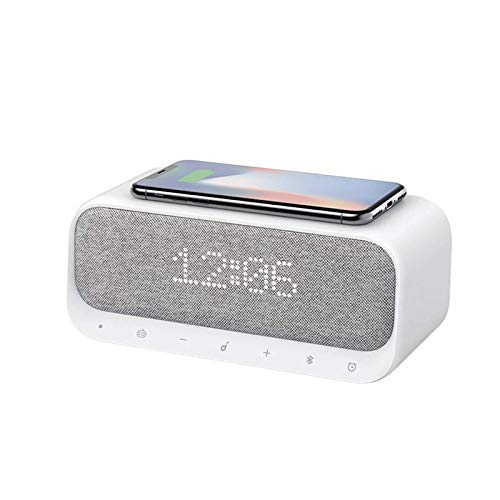 JIAMEIMEI Wireless Charging, Bluetooth 5.0 Speaker Subwoofer Soundbar Portable Sound Column Stereo FM Radio Alarm Clock Speaker bluetooth speaker grey (Color : -, Size : -)