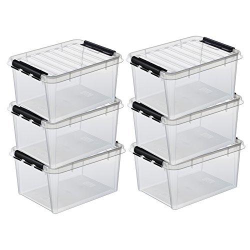 6 x HAMMARPLAST SmartStore Classic 31 Box - 32 Liter - 500 x 390 x 260 mm - transparent