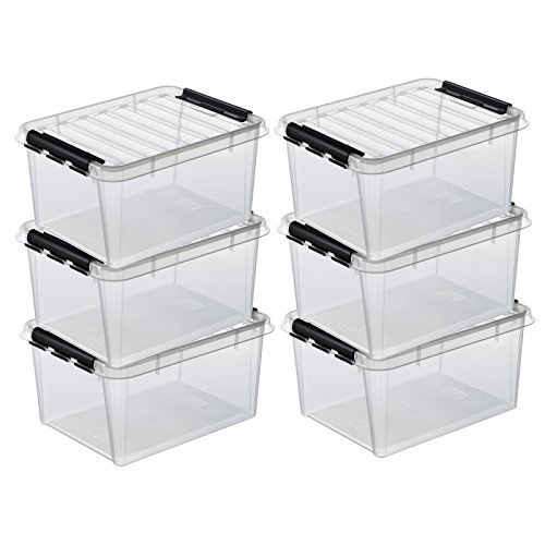 6 x HAMMARPLAST SmartStore Classic 31 Box - 32 Liter - 500 x 390 x 260 mm - transparent