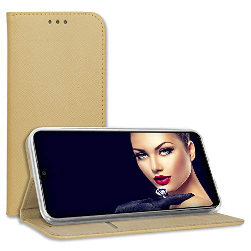 mtb more energy® Schutz-Tasche Bookstyle für Huawei Y6S, Honor 8A (6.09'') - Gold - Kunstleder - Klapp-Cover Hülle Wallet Hülle