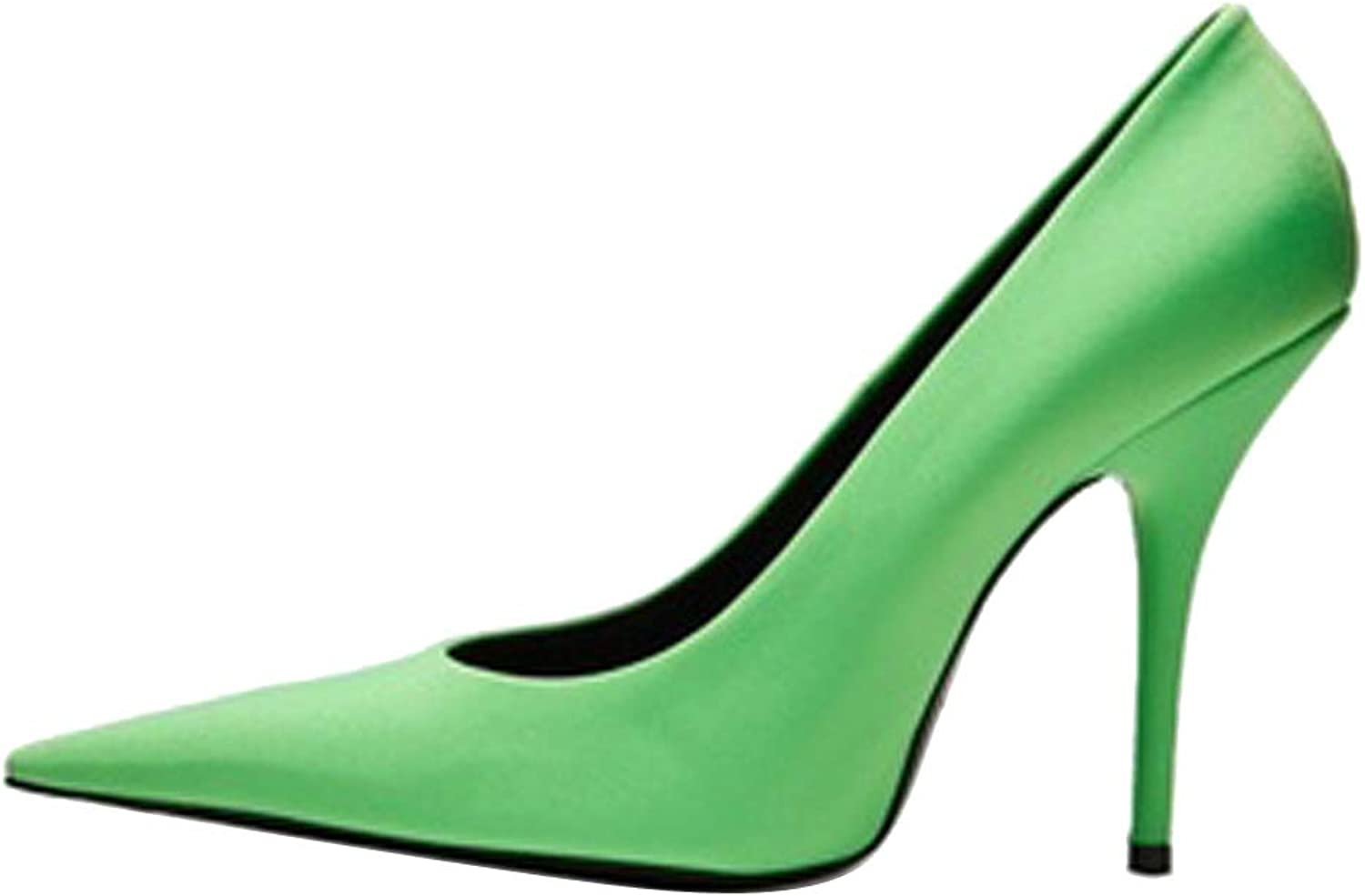 Themost Women's Pointy Toe Pump Sheepskin Leather Stiletto Party Pumps High Heels (8.5, Green)