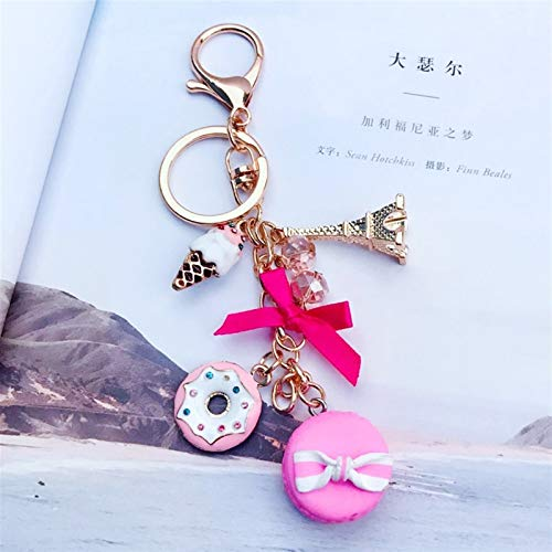 Goqiwep Key chain Macarons Cake Keychain Keychains With France Paris LADUREE Effiel Tower Macarons Ribbon Keyrings Bag Charm Gift (Color : Pink)