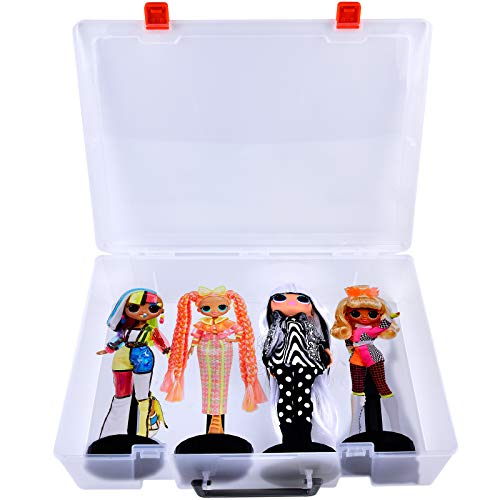 Doll Storage Case Box for L.O.L. Surprise! O.M.G. Lights Groovy Babe Speedster  Candylicious  Dazzle Fashion Doll, Toys Organizer Container Collect All 4 Dolls and Accessories for Girls.
