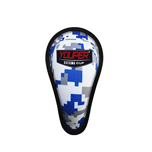 Youper Boys Youth Soft Foam Protective Athletic Cup (Ages 4-6), Kids Sports Cup for Baseball, Football, Lacrosse, MMA (Ocean Camo, X-Small)