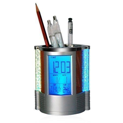 Accessotech Digital LCD Bureau Réveil & Maille Pot À Crayons Stylos Règles bureau rangé lumière LED