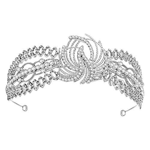 Lurrose Boda Tiara Corona Rhinestone Nupcial Tocado Cristal Nupcial Tiara Diadema Boda...