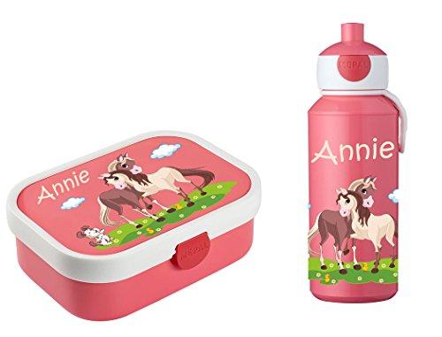 Mein Zwergenland Brotdose Mepal Campus inkl. Bento Box und Gabel + Campus Pop-up Trinkflasche mit Namen Rose, Pferde