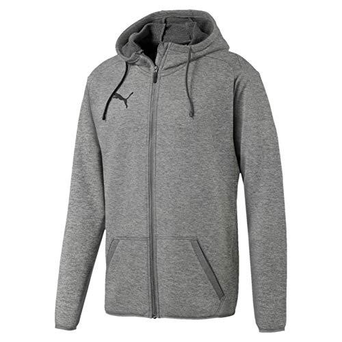 Puma Liga Casual Hoody Jacket, Felpa Uomo, Medium Gray Heather/Black, L