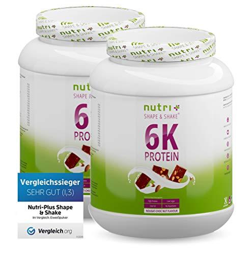 Eiweißkonzentrat High Protein NUSS NOUGAT 2kg - Iso Proteinpulver Blend - hochdosiertes Eiweißpulver Choco Nut 2000g - Shape & Shake 6 Komponenten Eiweiß Pulver - Proteinkomplex