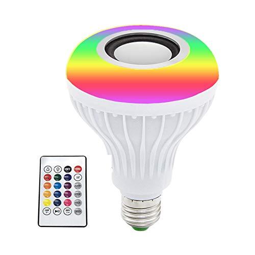 Qalabka Altavoz inalámbrico E27, 12 W, RGB BT, multicolor, bombilla LED E27, altavoz inalámbrico, reproductor de música con mando a distancia