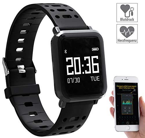 newgen medicals Smartwatch Blutdruck: Fitness-Uhr mit Blutdruck- & Herzfrequenz-Anzeige, Bluetooth 4.0, IP68 (Fitness Uhr mit Blutdruckmessung)