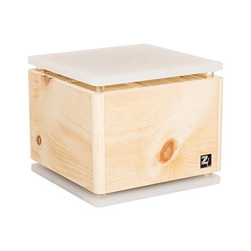 ZirbenLüfter ® Cube Rondo für ca. 40 m2 | Luftbefeuchter | Luftreiniger aus Zirbenholz mit abgerundeten Ecken | die Boden-/Abdeckplatte ist transluszent mit eingravierter Blume des Lebens