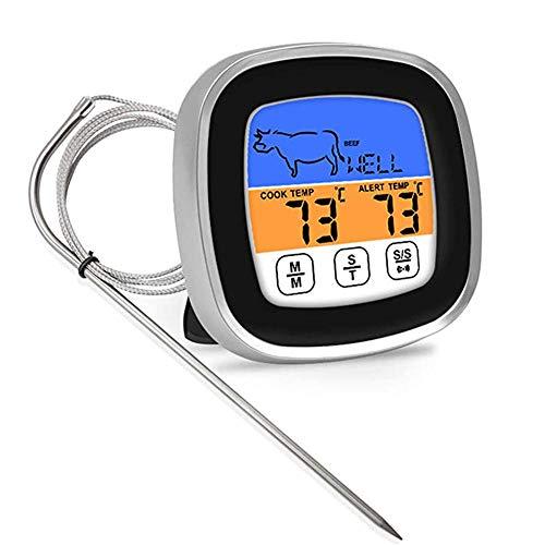 Termómetros digitales para carne, pantalla táctil a color, termómetro para horno de 40 pulgadas, con temporizador de señal de alarma, termómetro alimentos cocinar temperatura preestablecida