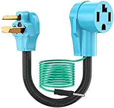 CircleCord Dryer Adapter 4 Prong to 3 Prong Blue, Dryer Cord Convert NEMA 10-30P Plug to 14-30R Receptacle 120V/240V 30 Amp 10 AWG STW with Safety Ground Wire