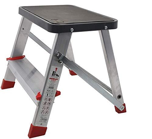 Escalera Plegable portátil 2 peldaños, Taburete Aluminio, altillo Plegable doméstico, escalerilla Plegable - Ideal para Uso a Poca Altura en cocinas, baños, almacenes, etc