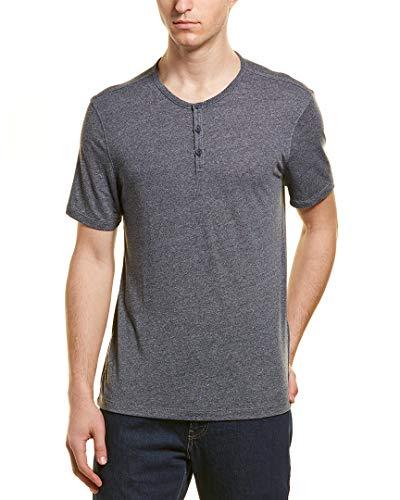 John Varvatos Star USA Men's Short Sleeve 3 Button Crew Henley Shirt Large Atlantic Blue