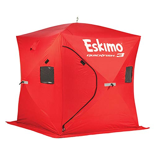 Eskimo 69143 Quickfish 3 Pop-Up Portable Hub-Style Ice Fishing Shelter, 34 Square Feet of Fishable Area, 3 Person Shelter