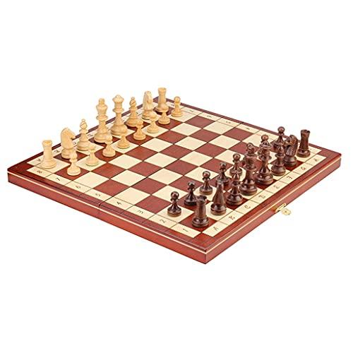 15.7'Conjunto de ajedrez de Madera, Madera de Haya, Tablero de ajedrez magnético Plegable, Piezas de ajedrez de Staunton, 2 Reinas adicionales, para Adultos, niños (Color : Brown, tamaño : 15.7')