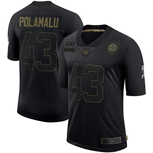 Ropa de fútbol americano al aire libre Troy #43 Steelers Polamalu 2020 Saludo a Servicio Jubilado Limited Jersey Transpirable Ropa Deportiva Para Hombres - Negro