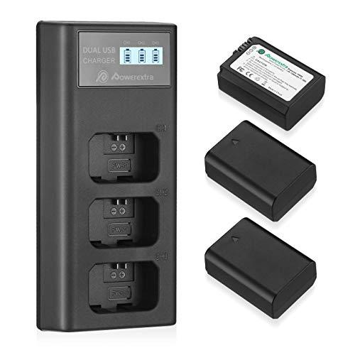 Powerextra - Batería de repuesto para cámara digital NP-FW50 Alpha7 7ii a6400 a6500 a6300 a5100 NEX-7 NEX-6 NEX-F3 NEX-5 NEX-5N NEX-5T SLT-A55V A33 A35 A37 (3 unidades)
