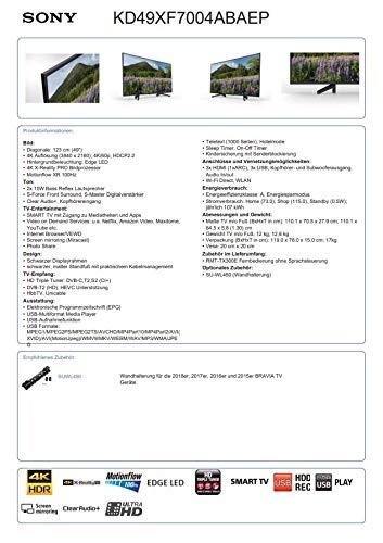 Sony KD-49XF7004 123 cm (49 Zoll) Fernseher (4K HDR, Ultra HD)