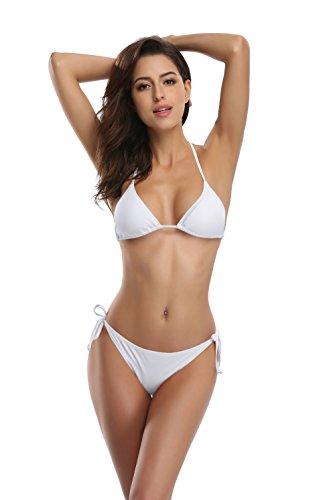 SHEKINI Women's Tie Side Bottom Push up Padded Top Triangle Bikini Bathing Suit (Venice White, Medium)