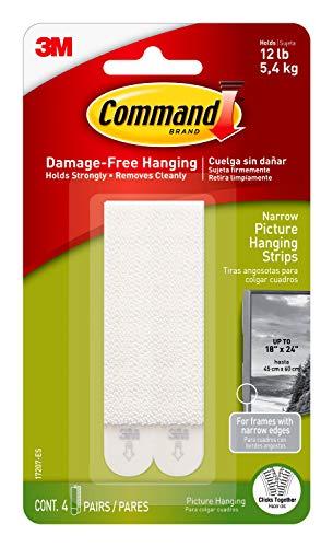 Command 17207 Schmale Bild-Hängestreifen, 4 x 2 - Weiß