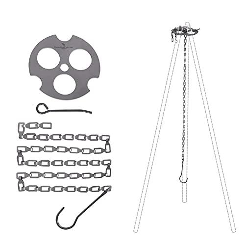 Cadena de cesta colgante Camping Trípode Tablero ajustable Titanio Cadena colgante con ganchos de bucle fijo for Pot Grill Amplia gama de aplicaciones (Color : A)