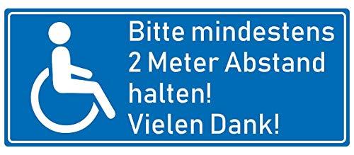 Samunshi® Aufkleber Behinderten Aufkleber 2 Meter Abstand - Schild Sticker Hinweisschild Warnschild Vorsicht Blau in 8 Größen (8x3,2cm Mehrfarbig)
