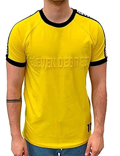 11 Degrees Camiseta de hombre grabada en relieve con estampado de músculo,...