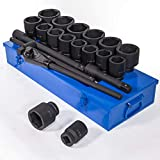 Stark Premium 21-Pieces SAE Jumbo Impact Socket Set 1'-inch Drive Extension Bar Cr-Mo 6-Point with Carrying Case