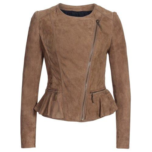 Gaudi-Leathers Giacca in pelle super morbida da donna, in velluto di capra, taglie da XS a XL beige. M