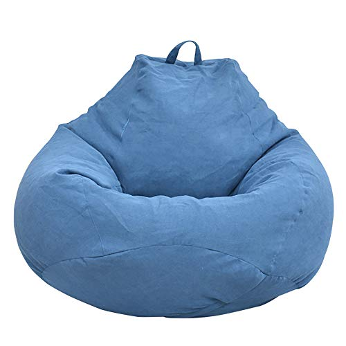 Jetcloud Sitzsackbezug für Erwachsene, groß, hohe Rückenlehne, Sitzsack, Sofaüberzug, Relaxsack, Aufbewahrungstasche für drinnen und draußen, ohne Füllung, blau, XL:100x120cm