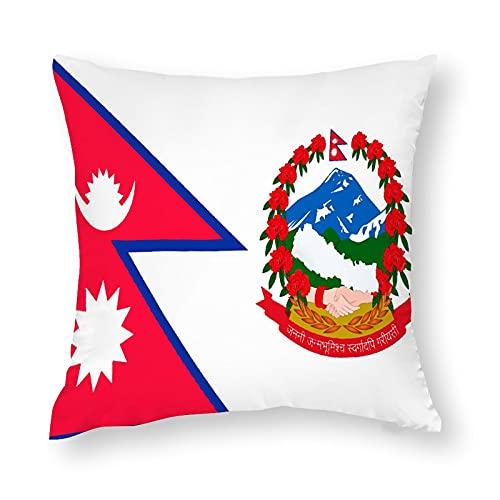 Kissenbezug mit Flaggen von Nepal, quadratisch, dekorativer Kissenbezug für Sofa, Couch, Zuhause, Schlafzimmer, drinnen & draußen, niedlicher Kissenbezug, 45,7 x 45,7 cm