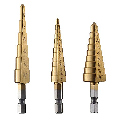 Yakamoz 3PCS High Speed Steel HSS Titanium Step Drill Bit Set Quick-Change 1/4' Hex Shank SAE - Total 28 Sizes