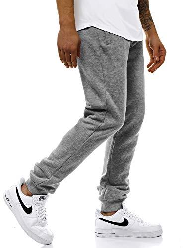 OZONEE Herren Jogginghose Hose Trainingshose Sporthose Freizeithose Unifarbe Herrenhose Sweatpants Fitnesshose Sweathose Fußballhose Jogpants Joggpants 777/1648S GRAU XL