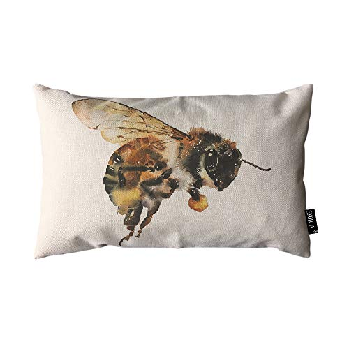 EKOBLA Throw Pillow Cover Bee Bumblebees Country Watercolor Animal Big Honey Artistic Beautiful Wings Rectangular Throw Pillow Covers for Couch Sofa Home Decor Cotton Linen 12x20 Inch