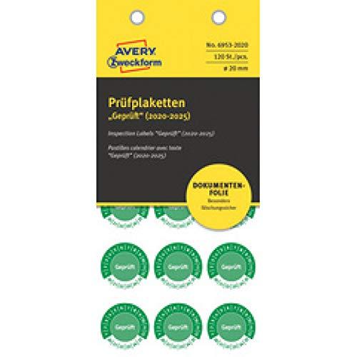 AVERY Zweckform 6953-2020 fälschungssichere Prüfplaketten 2020-2025 (stark selbstklebend, Kleinformat, Ø 20 mm, 120 Aufkleber auf 8 Blatt, handbeschriftbare Klebefolie zur Inventarkennzeichnung) grün