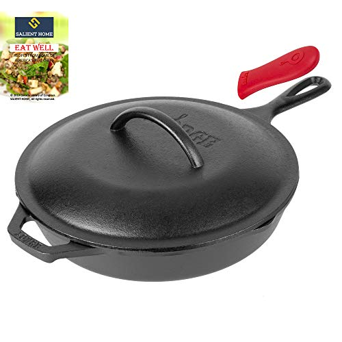 Lodge 10.25 Inch Cast Iron Skillet with Cover, Pre Seasoned Cookware, Frying Pan, Ready for Stovetop, Oven or Camp Cooking, Pan is Grill and Induction Safe, Bundle Includes Salient Home Cookbook